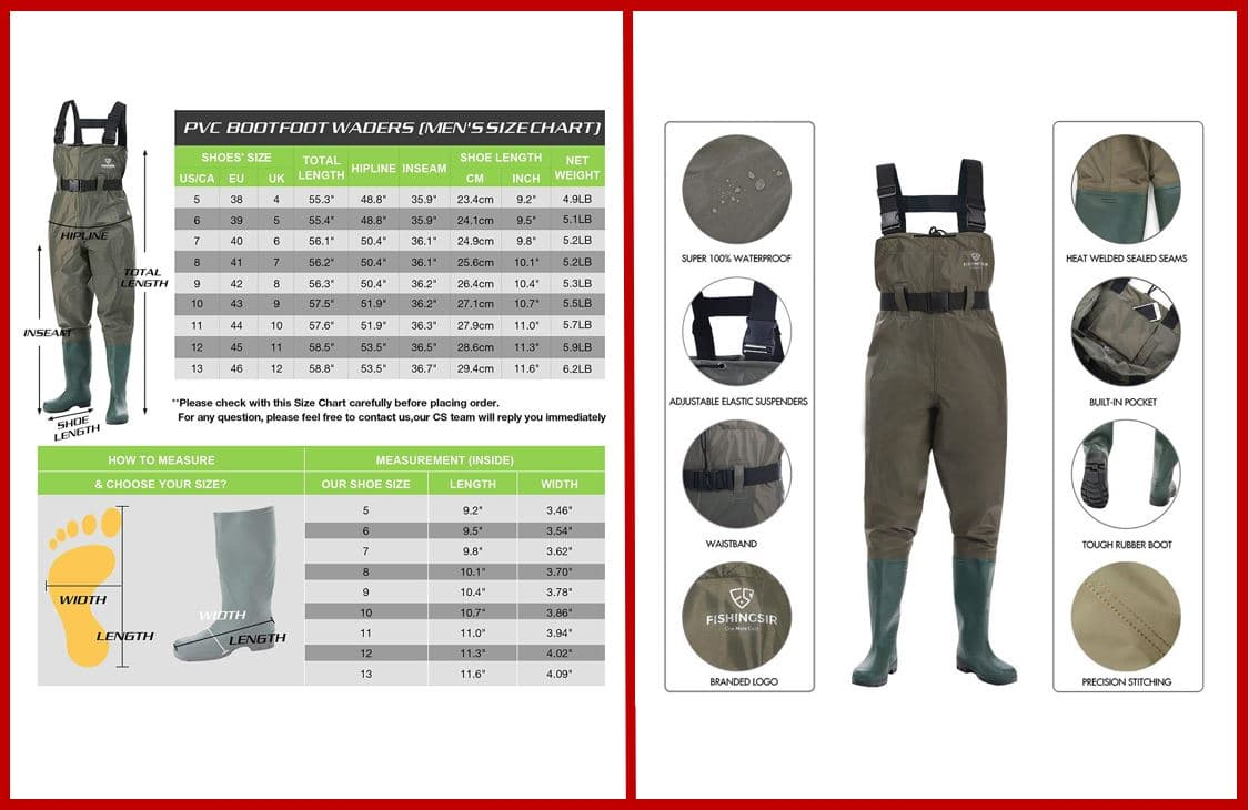FISHINGSIR KeepDry Chest Fishing Wader