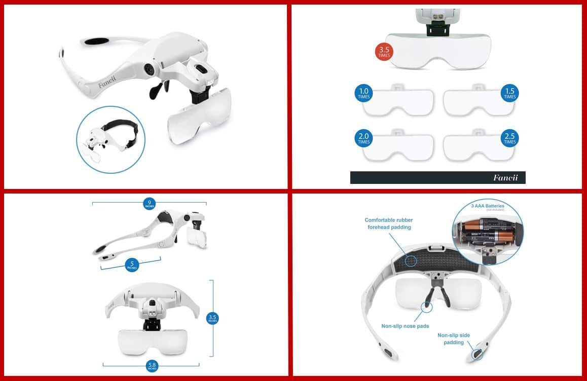 Fancii Headband LED Illuminated Head Magnifier Visor